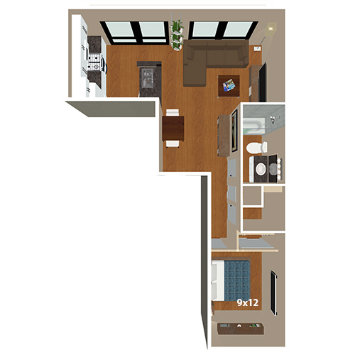 Band And Boston Lofts 1 Bed Bath Champa Floor Plan
